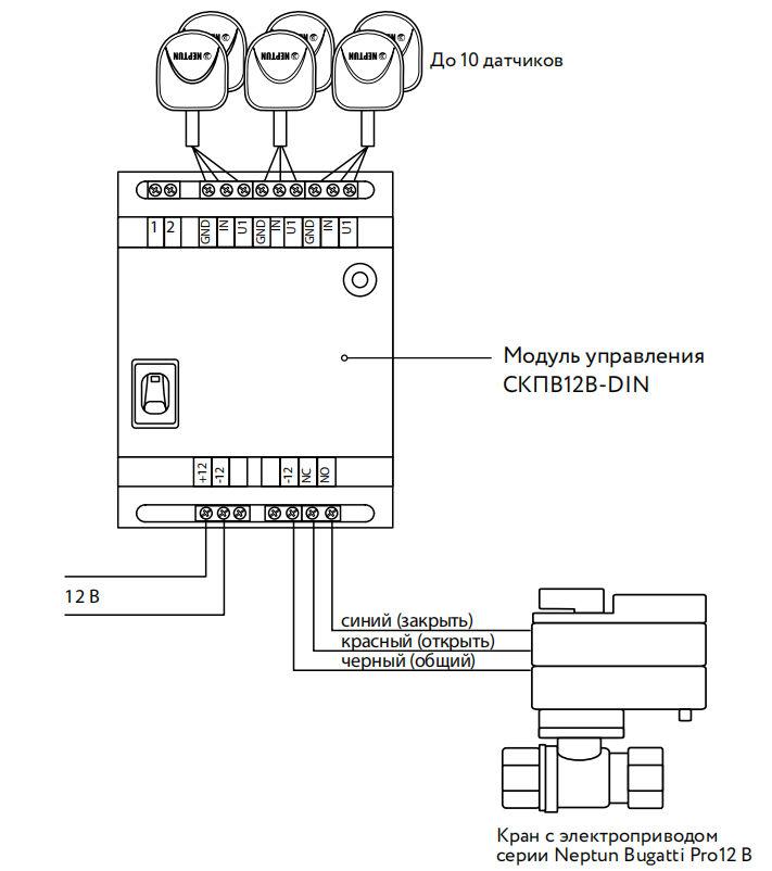 схема подключения neptun СКПВ12В din