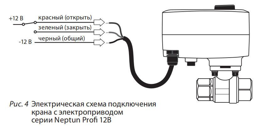 схема подключения крана Нептун Профи 12В