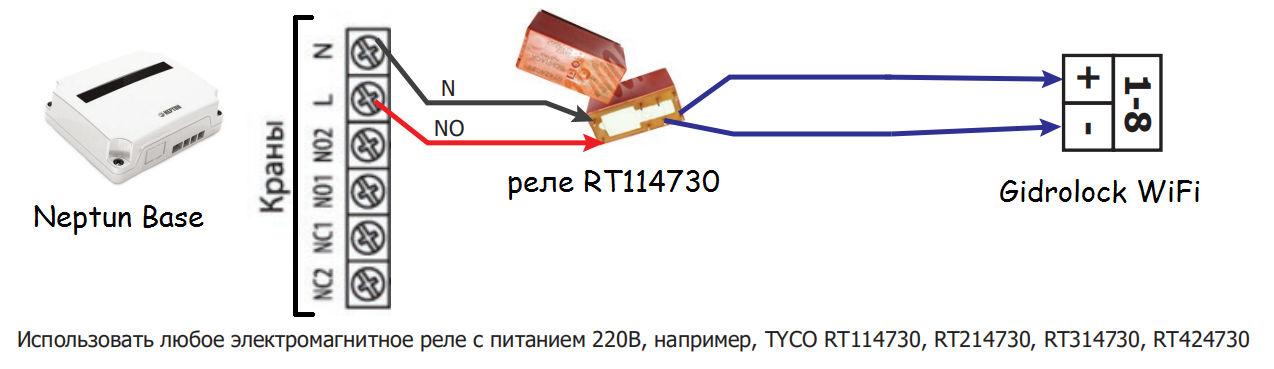 схема подключения блока управления Neptun Base к контроллеру Gidrolock WiFi